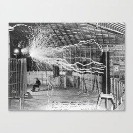 Nikola Tesla with his equipment (circa 1899) Canvas Print