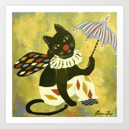 Circus Kitty Clowning Around  Art Print