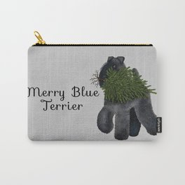 Merry Blue Terrier (Gray Background) Carry-All Pouch
