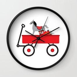 Vintage Red Wagon Wall Clock