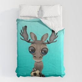 Cute Baby Moose With Football Soccer Ball Comforters