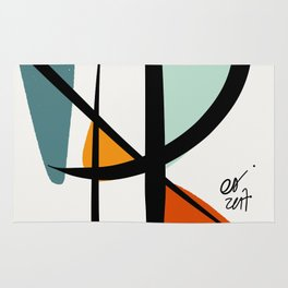 Abstract Minimal Lyrical Expressionism Art Blue Orange Rug