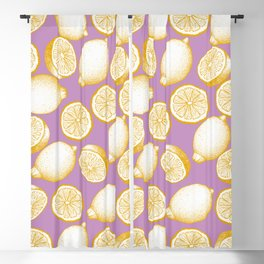 Lemons On Pink Background Blackout Curtain