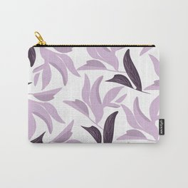 Abstract modern pastel lavender white leaves floral Carry-All Pouch