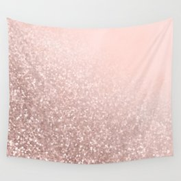 Rose Gold Sparkles on Pretty Blush Pink VI Wall Tapestry