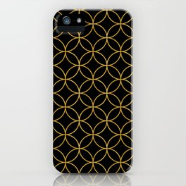Japanese Traditional Design1 -SHIPPO- Black & Gold iPhone Case