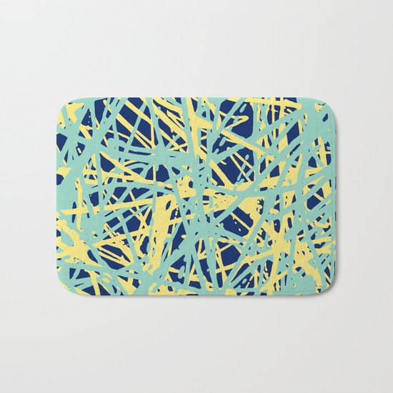 Daisy Scribble Navy, Mint and Lemon Bath Mat