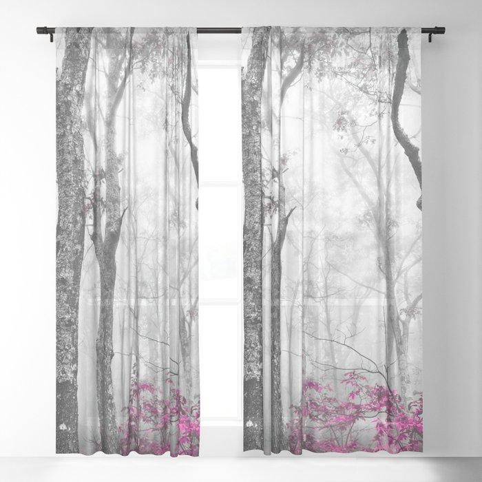 Princess Pink Forest Garden Sheer Curtain