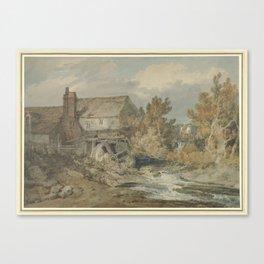 Watermill near a Flowing Brook, Joseph Mallord William Turner, 1795 - 1797 Canvas Print