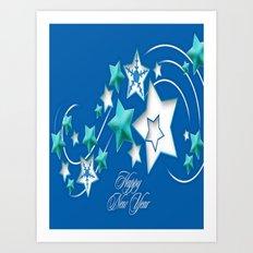 Jade and Blue Happy New Year Shooting Stars  Art Print