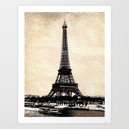 VINTAGE EIFFEL TOWER IN SEPIA Art Print