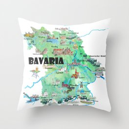 Bavaria Germany Illustrated Travel Poster Map Throw Pillow