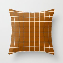 Grid (White/Brown) Throw Pillow