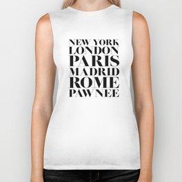 New York London Paris Madrid Rome Pawnee Biker Tank