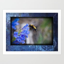 Rustic Bumble Blue Art Print