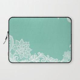 White Flower Lace Henna Design Teal Blue Mint Aqua Vintage Lace White Lace Design Laptop Sleeve