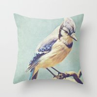 virginia Throw Pillows featuring Virginia Bluejay by Beth Thompson