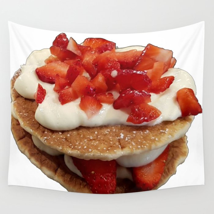 pancakes_strawberries_and_whip_cream Wall Tapestry