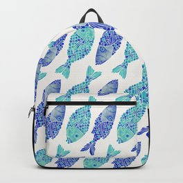 Indonesian Fish Duo – Navy & Turquoise Palette Backpack