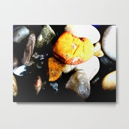 Bright orange rock resting on top of other stones - abstract geological nature Metal Print