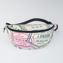 Passport to Adventure Vintage Style Travel Stamps Pattern Fanny Pack