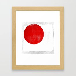 Japanese Distressed Halftone Denim Flag Framed Art Print