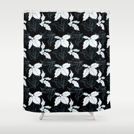 Holly Sprigs (Silver Calico) - Black Shower Curtain
