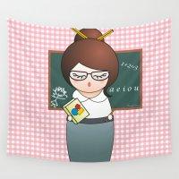 teacher Wall Tapestries featuring Kokeshi Teacher  by Pendientera