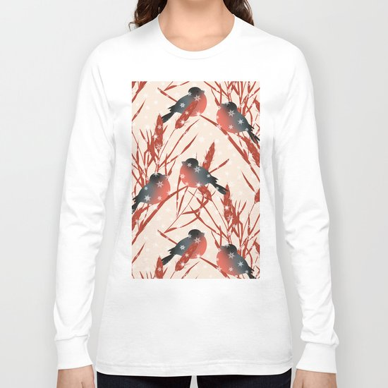Winter pattern with bullfinches. Long Sleeve T-shirt