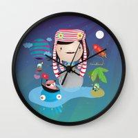 imagine Wall Clocks featuring Imagine  by Maria Jose Da Luz