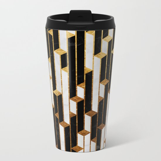 Marble skyscrapers - black, white and gold Metal Travel Mug