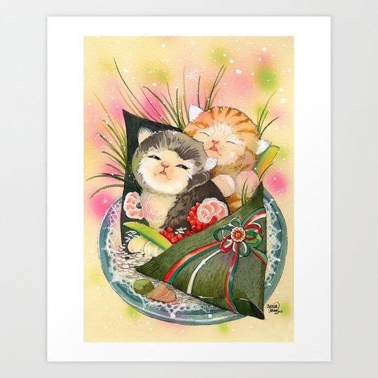 Christmas Kittens Sushi Wrap Art Print