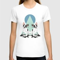 pugs T-shirts featuring Pugs (Blue) by Anna McKay