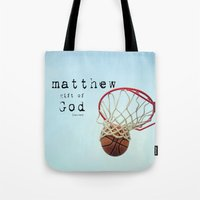 scripture Tote Bags featuring Matthew Scripture Name Art by KimberosePhotography