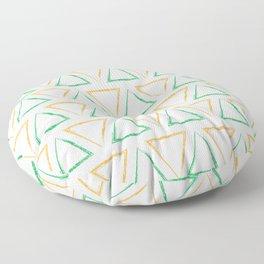 Triangular Peaks Pattern - Orange & Green #791 Floor Pillow