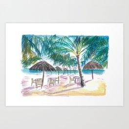 Caribbean Beach Bar Restaurant under Palms Art Print