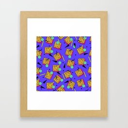 Seamless colorful pattern in retro style Framed Art Print