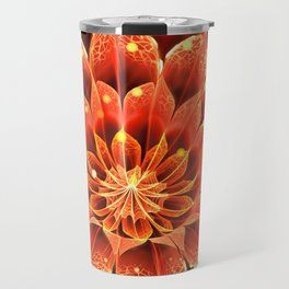 Red Dahlia Fractal Flower with Beautiful Bokeh (Vivid Crimson) Travel Mug