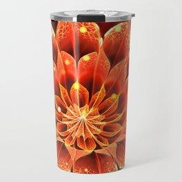 Red Dahlia Fractal Flower with Beautiful Bokeh (Vivid Crimson) Travel Mug