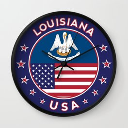 Louisiana, Louisiana t-shirt, Louisiana sticker, circle, Louisiana flag, white bg Wall Clock