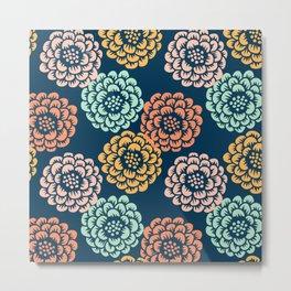 Indigo & Papaya Pattern 10 Metal Print