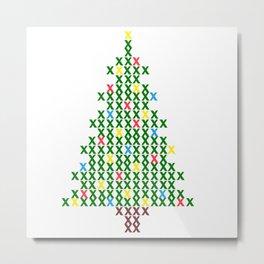 Cross Stitch Christmas Tree Metal Print