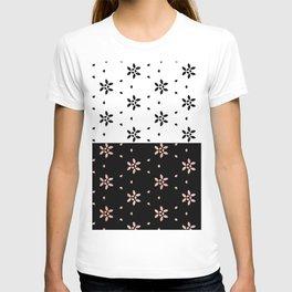 Two Tone Black White Flower Pattern Design T-shirt