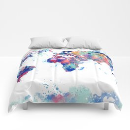 Coloful Splatter World Map Comforters