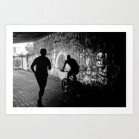 running Art Prints featuring Running by Massimo Merlini