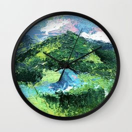 Gunnison: a vibrant acrylic mountain landscape in greens, blues, and a splash of pink Wall Clock