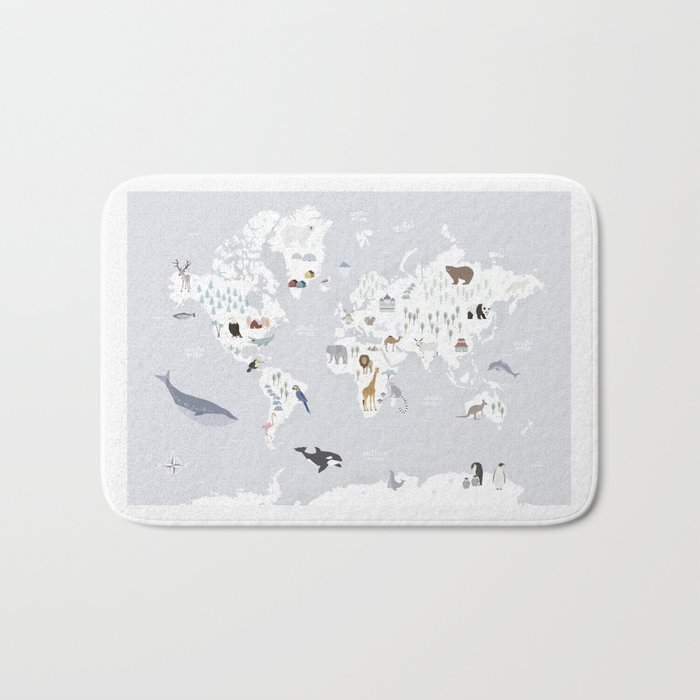 Animal Map of the world Bath Mat