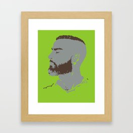Bearded Man I - Green Framed Art Print