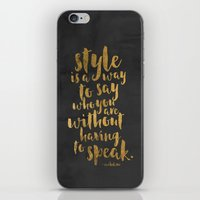 gold foil iPhone & iPod Skins featuring STYLE QUOTE Gold Foil by Casey Snyder Design