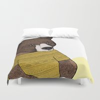 nike Duvet Covers featuring Bear in Nike by Diana Hope